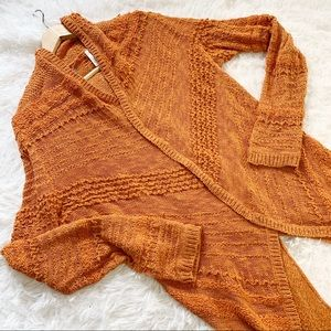 Knitted & knotted orange open front cardigan M